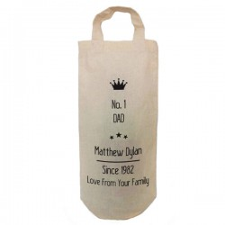 Number One Dad Personalised Natural Cotton Wine Bottle Bag. With handles. Great Gift With a personal message.