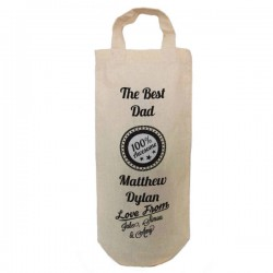 100% Awesome dad Personalised Natural Cotton Wine Bottle Bag. With handles. Gift With a personal message.
