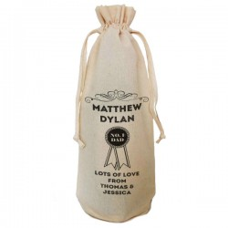 Number One Dad design Personalised Natural Cotton Wine Bottle Bag. Draw String Neck Tie. Gift With a personal message.