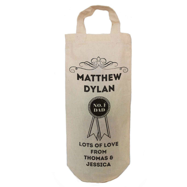 Number 1 Dad Gift Personalised Natural Cotton Wine Bottle Bag. With handles. Great Gift With a personal message.
