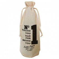 Number 1 Dad Personalised  Natural Cotton Wine Bottle Bag. Draw String Neck Tie Gift With a personal message.