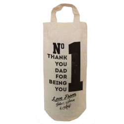 Number 1 dad Personalised Natural Cotton Wine Bottle Bag. With handles. Gift With a personal message.
