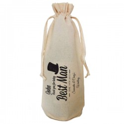 Personalised Best Man Natural Cotton Wine Bottle Bag. Draw String Neck Tie Engagement Gift With a personal message.