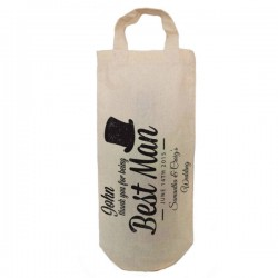 Personalised Best man Natural Cotton Wine Bottle Bag. With handles. Engagement Gift With a personal message.