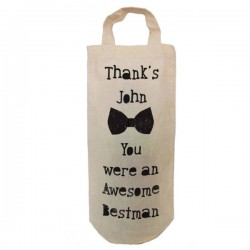 Best Man Personalised  Natural Cotton Wine Bottle Bag. With handles. Great Gift With a personal message.
