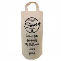 Best Man Personalised Natural Cotton Wine Bottle Bag. With handles. Engagement Gift With a personal message.