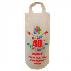 Any Birthday Personalised  Natural Cotton Wine Bottle Bag. With handles. Engagement Gift With a personal message.
