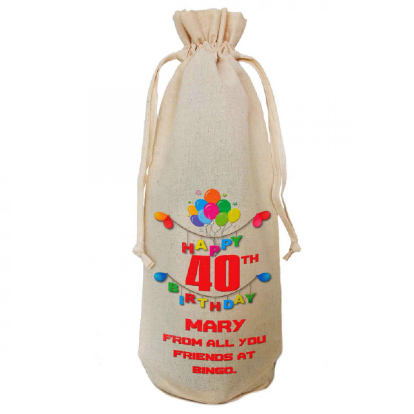 Any Birthday Gift Personalised Natural Cotton Wine Bottle ...