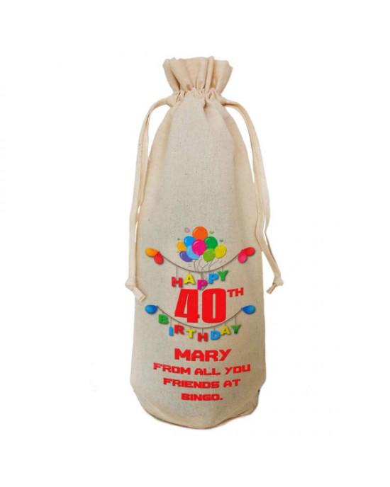 Birthday Gift Balloon Design Personalised Natural Cotton Wine Bottle