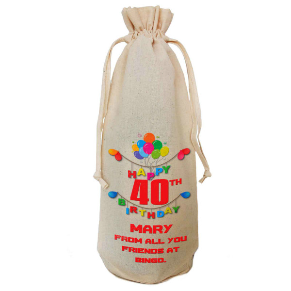 Any Birthday Gift  Personalised  Natural Cotton Wine Bottle Bag. Draw String Neck Tie Gift With a personal message.
