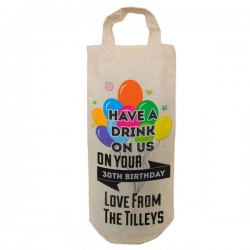 Birthday balloon design Gift Personalised Natural Cotton Wine Bottle Bag. With handles. Great Gift With a personal message.