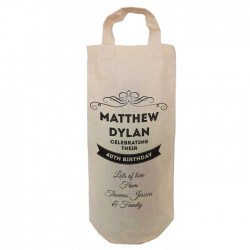 Birthday Gift Personalised Celebrating their birthday Natural Cotton Wine Bottle Bag. cotton Handle Gift With a personal message.