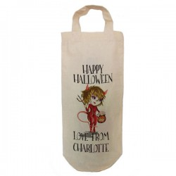 Halloween Little Devil Personalised Natural Cotton Wine Bottle Bag. With handles. Gift With a personal message.