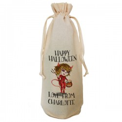 Halloween Little Devil Party Bottle Gift Bag Natural Cotton Wine Bottle Bag. Draw String Neck Tie Gift With a personal message.