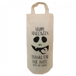 Halloween Personalised Natural Cotton Wine Bottle Bag. With handles. Gift With a personal message.