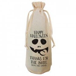 Halloween Party Bottle Gift Bag Natural Cotton Wine Bottle Bag. Draw String Neck Tie Gift With a personal message.