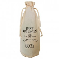 Halloween Little Bottle of Boo's Gift Bag Natural Cotton Wine Bottle Bag. Draw String Neck Tie Gift With a personal message.