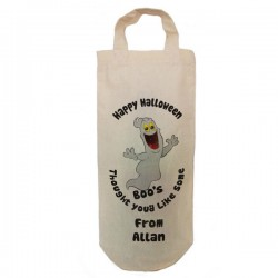 Halloween Personalised Natural Cotton Bottle Of Boo's Gift Party Bag. With handles. Gift With a personal message.