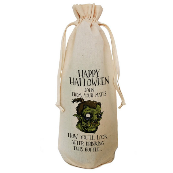 Halloween Joke Zombie Gift Bag Natural Cotton Wine Bottle Bag. Draw String Neck Tie Gift With a personal message.