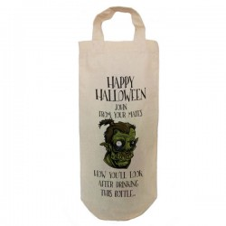 Halloween Joke Zombie Personalised Natural Cotton Wine Bottle Bag. With handles.
