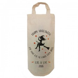 Halloween Witch Personalised Bottle bag. Natural Cotton Wine Bottle Bag. With handles.