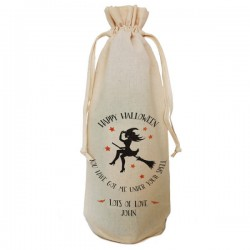 Halloween Witch Gift Bottle Bag Natural Cotton Wine Bottle Bag. Draw String Neck Tie Gift With a personal message.