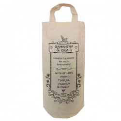 Engagement Congratulations Personalised Natural Cotton Wine Bottle Bag. With handles.  Gift With a personal message.