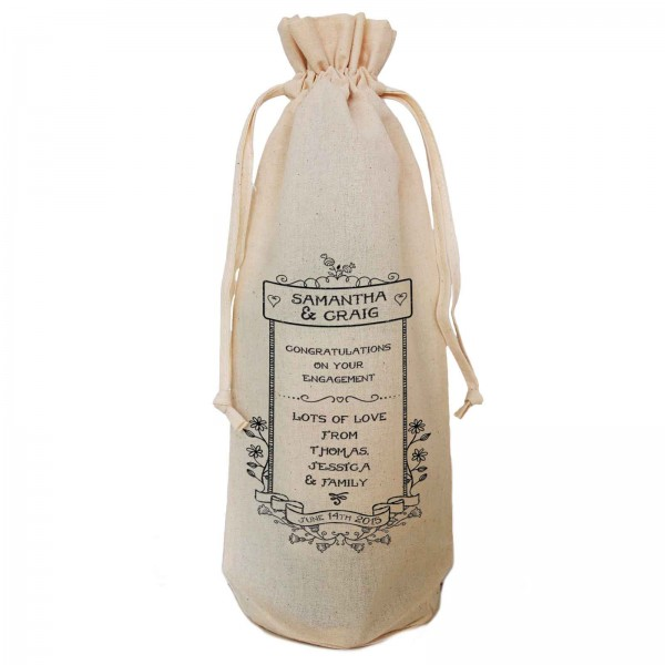 Engagement  Gift Personalised  Natural Cotton Wine Bottle Bag. Draw String Neck Tie Gift With a personal message.