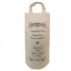 Wedding Engagement Personalised  Natural Cotton Wine Bottle Bag. With handles. Great Gift With a personal message.
