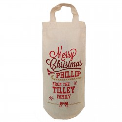 Personalised Christmas gift Natural Cotton Bottle Bag. With handles. Gift With a personal message.