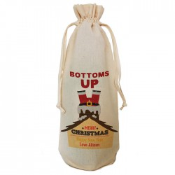 Personalised Fun Santa Christmas Bottle Bag. Great Gift in Natural Cotton. Draw String Neck Tie