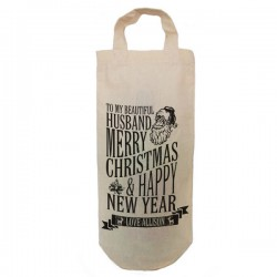 Personalised Christmas Message Bottle Bag Great gift Natural Cotton With handles. Gift With a personal message.