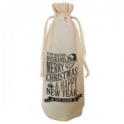 Personalised Christmas Message Bottle Bag. Great Gift in Natural Cotton. Draw String Neck Tie