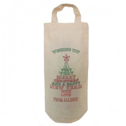 Personalised Christmas Tree Message Bottle Bag Great gift Natural Cotton With handles. Gift With a personal message.