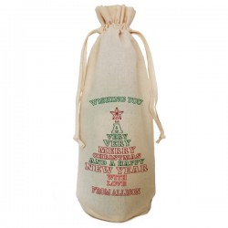 Personalised Christmas Tree Message Bottle Bag. Great Gift in Natural Cotton. Draw String Neck Tie