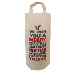 Personalised Christmas Colourful Message Tree Message Bottle Bag Great gift Natural Cotton With handles. Gift With a personal message.