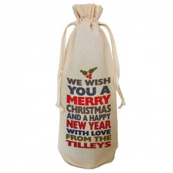 Personalised Christmas Colourful Fun Message Bottle Bag. Great Gift in Natural Cotton. Draw String Neck Tie