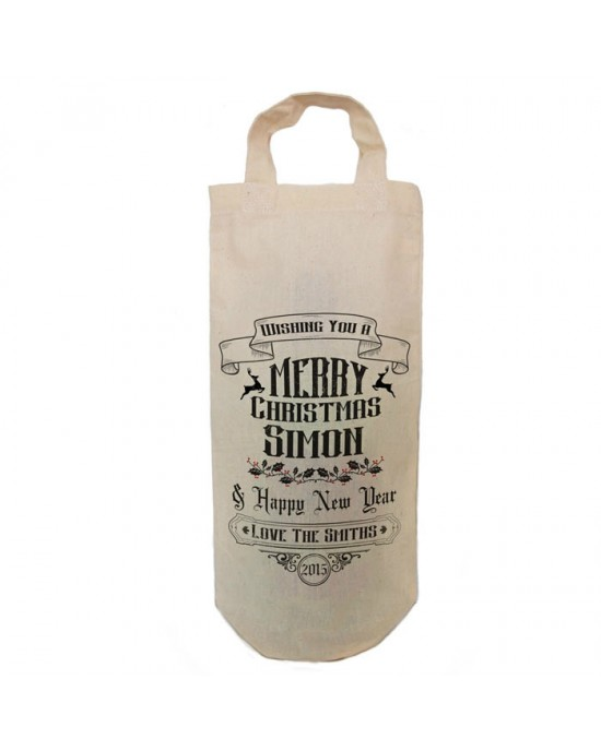 Personalised Traditional Christmas Message Bottle Bag Great gift Natural Cotton With handles. Gift With a personal message.