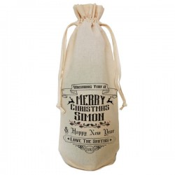 Personalised Traditional Christmas Message Bottle Bag. Great Gift in Natural Cotton. Draw String Neck Tie
