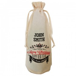 Personalised Tradional Christmas Message Bottle Bag Great gift Natural Cotton With handles. Gift With a personal message.