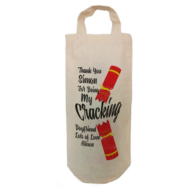 Personalised Christmas Cracker Message Bottle Bag Great gift Natural Cotton With handles. Gift With a personal message.