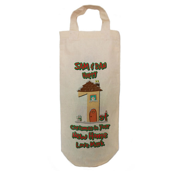 Personalised 1st Christmas New House Message Tree Message Bottle Bag Great gift Natural Cotton With handles. Gift With a personal message.