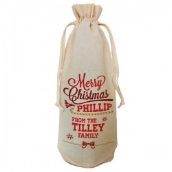 Personalised Christmas Gift Natural Cotton Bottle Bag. Draw String Neck Tie Gift With a personal message.