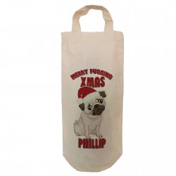 Personalised Pugging Christmas  Bottle Bag Great gift Natural Cotton With Handles Gift With a personal message.