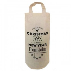 Personalised Christmas Bottle Bag Great gift Natural Cotton With handles. Gift With a personal message.