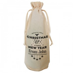 Personalised Christmas Bottle Bag. Great Gift in Natural Cotton. Draw String Neck Tie
