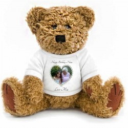 Personalised Photo Bear, With Your Message 2 Sizes. Simply Upload your photo add text & we will send you a proof